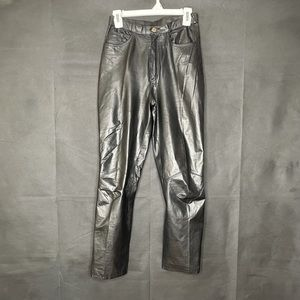 G III Leather designs black leather high rise pant